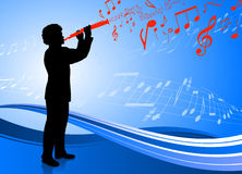 Clarinet player on abstract blue background Royalty Free Stock Images