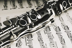 Clarinet. A clarinet on a sheet of music royalty free stock photography