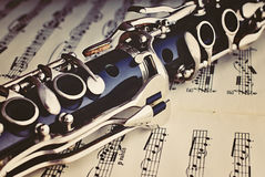 Clarinet. A clarinet on a sheet of music royalty free stock photo