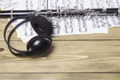 Clarinet with sheet music Royalty Free Stock Photos