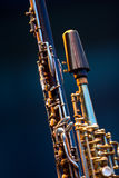 Clarinet Soprano Saxophone detail. Clarinet Soprano Saxophone woodwind close up detail Stock Photos