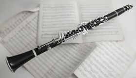 Clarinet Suspended Over Music Royalty Free Stock Photo