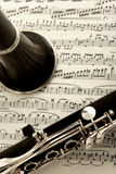 Clarinet- und Blattmusik lizenzfreies stockfoto