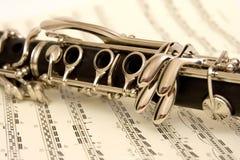 Clarinet und Musik lizenzfreies stockfoto
