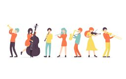 Clarinete, saxophone, trumpet, flute, trombone, violin, contrabass. Set Flat vector background in a flat style of group of musicians, playing clarinet, saxophone royalty free illustration