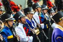Clarinetes da banda na parada de Philly Imagem de Stock