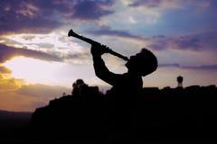 Clarinetist sylwetka zdjęcie royalty free