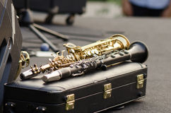 Clarinets ready for jazz. Concert Royalty Free Stock Photography