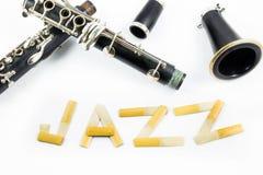 Clarinette sur le fond blanc Images stock