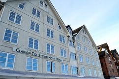 Clarion hotel with in tromsoe city stock photography