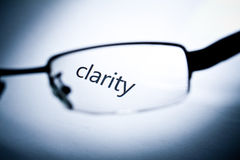 Clarity. Word clarity viewed from a glasses