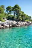 Clarity Adriatic seascape. Rocky shore and turquoise  clarity sea Royalty Free Stock Photos