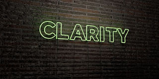 CLARITY -Realistic Neon Sign on Brick Wall background - 3D rendered royalty free stock image Royalty Free Stock Photos