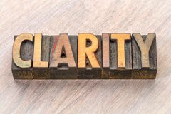 Clarity word abstract in wood type. Clarity  word abstract in vintage letterpress wood type Stock Photo