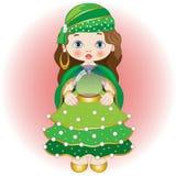 Clarividente pequeno com bola de cristal Fotografia de Stock Royalty Free
