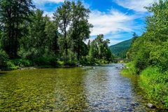 Showing Off it`s Beautiful Waters. The Clark Fork River in Montana showing off it`s beautiful waters Stock Image
