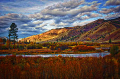 Clark Fork River Western Montana. The Clark Fork River in Western Montana, wirh fall colors of yellow and gold and a clear sky. Cottonwoods in fall colors Stock Image