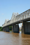 Clark Memorial Bridge. The Clark Memorial Bridge over the Ohio River stock photo