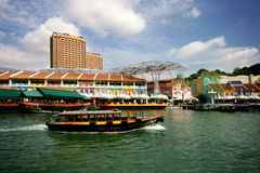 Clark Quay. Water taxi in Clark Quay in Singapore Stock Image