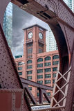 Clark Street Bridge. Chicago, Illinois, USA - July 5, 2014. View of the Encyclopaedia Britannica Inc. building through the railing of the Clark Street Bridge Stock Photos