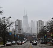 Clark Street On A Foggy Morning Royalty Free Stock Photography