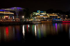 Σημείο όχθεων ποταμού αποβαθρών Clarke τη νύχτα Στοκ εικόνα με δικαίωμα ελεύθερης χρήσης
