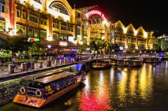 Clarke Quay al fiume di Singapore immagine stock