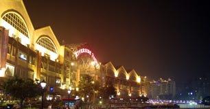 Clarke Quay, beleuchtetes Architektur nachts Stockfotos