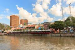 Clarke Quay am blauen Himmel, Singapur, Südostasien Stockfotos