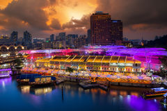 Clarke Quay. Colorful light building at night in Clarke Quay food market area, Singapore city, Singapore Stock Photo
