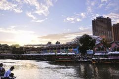 Clarke Quay in the daytime. It's a historical riverside quay in Singapore royalty free stock photos