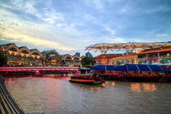 Clarke Quay in downtown Singapore. At night stock photography