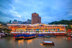 Clarke Quay in downtown Singapore. At night royalty free stock image