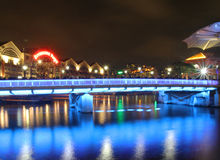 Clarke Quay in downtown Singapore at night Royalty Free Stock Images