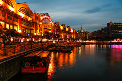Clarke Quay during dusk, Singapore Stock Image