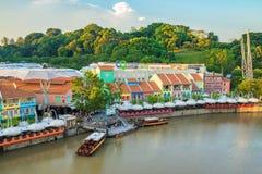Clarke Quay gammal port i Singapore Arkivfoton
