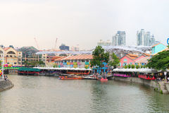 Clarke Quay is a historical riverside quay in Singapore Stock Image