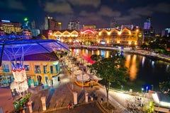 Clarke Quay Nacht in Singapur Lizenzfreies Stockbild