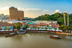 Clarke Quay old port in Singapore. Singapore, Singapore - September 18, 2016 : Clarke Quay ancient port, Singapore. It is a historical riverside quay in Royalty Free Stock Photo