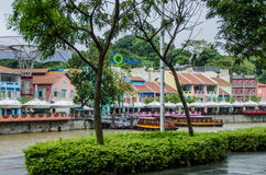 Clarke Quay på den Singapore floden Royaltyfri Bild