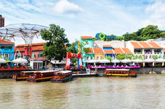 Clarke Quay. Is a popular tourist attraction in Singapore. Photo taken December 24, 2013 in Singapore Stock Photo