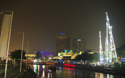 Clarke Quay riverside point at night Royalty Free Stock Image