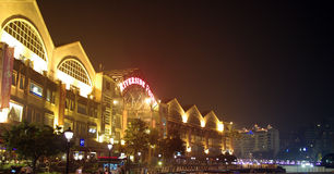 Clarke Quay, lighted architectural at night stock photos