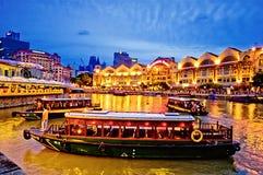 clarke quay rzeka Singapore Obraz Stock
