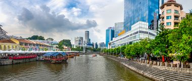 Panorama of Clarke Quay, Singapore at the day time royalty free stock images