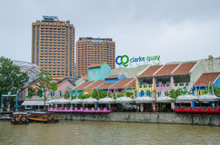 Clarke Quay on the Singapore River with hotels Royalty Free Stock Images