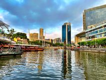 Clarke quay and Singapore River royalty free stock photos