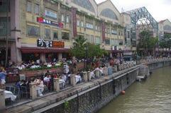 Clarke Quay in Singapur-Fluss Stockfotografie