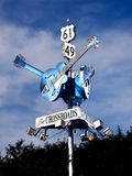 Delta Blues Guitar Highway Sign. Clarksdale, Mississippi Delta Blues Highway 49 and Highway 61 guitar sign royalty free stock photography