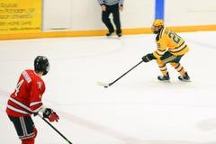 Clarkson #28 nel gioco di hockey del NCAA Immagini Stock Libere da Diritti